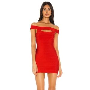 Superdown Holiday Cut out Red body con mini dress